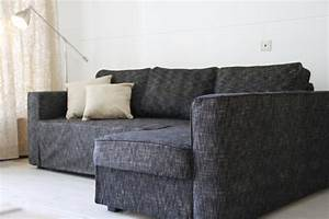 Manstad sofa bed slipcover in nomad black comfort works for Custom made sectional sofa covers