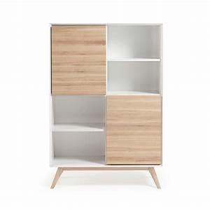 bibliotheque design blanc et bois de frene avec portes With meuble bar moderne design 5 etagre murale compartiments couleur bois ou blanc moderne