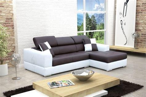 canape madrid canapé design d 39 angle madrid iv cuir pu noir et blanc
