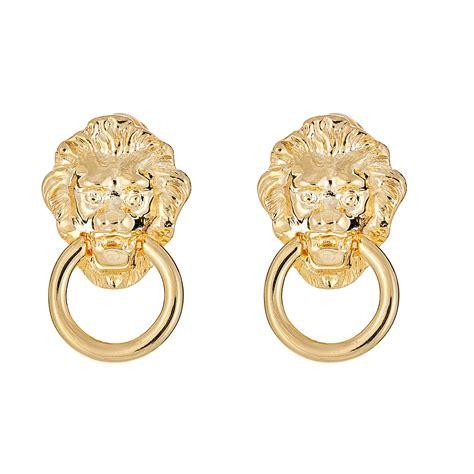 Kenneth Jay Lane Lion Head Earrings