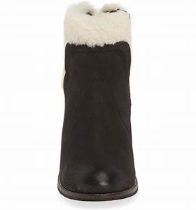 Helena Black Leather Shearling Cuff Bootie