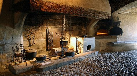 Black kitchen table set, medieval castle kitchen inside