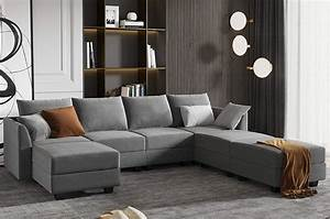 Honbay, Modular, Sectional, Sofa, U, Shaped, Couch, Reversible, Sofa, Couch, With, Storage, Seat, Grey
