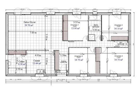 Plan De Maison Plain Pied Gratuit 4 Chambres #1
