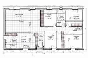 Plan Pour Maison : plan de maison plain pied gratuit 4 chambres 1 plans pinterest chang 39 e 3 ~ Melissatoandfro.com Idées de Décoration