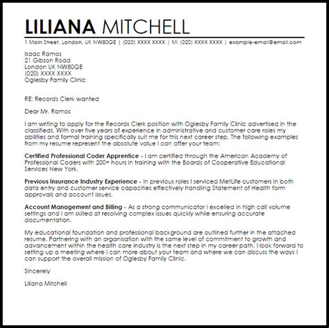 Cover Letter For Consular Assistant by Records Clerk Cover Letter Sle Livecareer