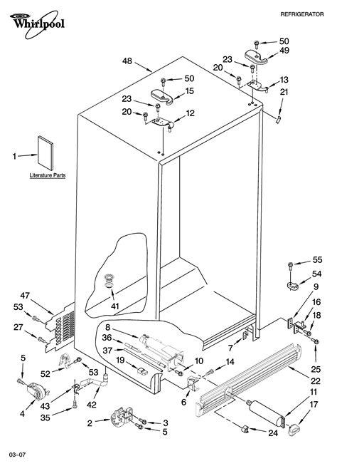 whirlpool side  side refrigerator parts model