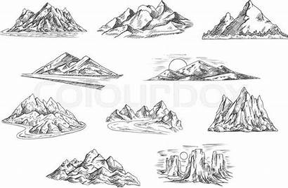 Mountain Nature Rocky Hills Sketches Roads Sketched