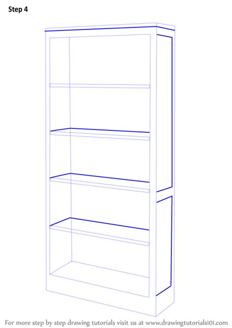 learn how to draw a book shelf furniture step by step