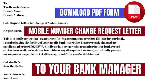 indian overseas bank mobile number change request letter