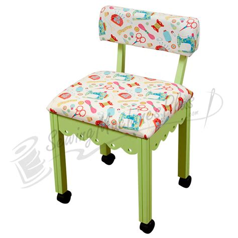 arrow sewing cabinets chair arrow sewing chair white fabric on green 7014w