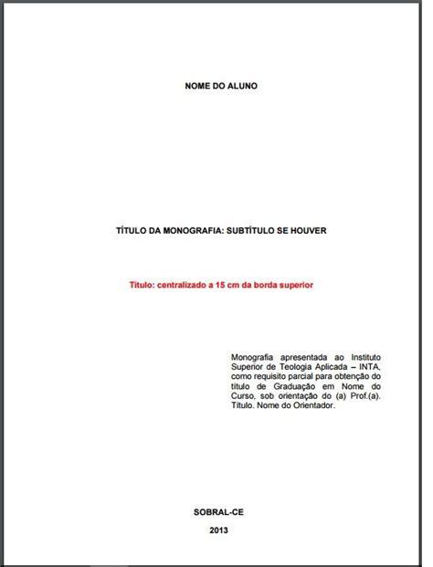 folha de rosto obrigat 243 ria que deve constar em uma monografia da abnt ilustra 231 227 o lore
