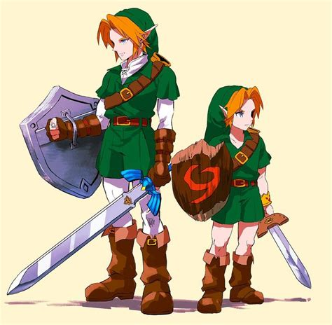 The Legend Of Zelda Ocarina Of Time Adult Link And Young