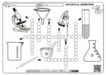 crucigrama con herramientas de laboratorio actiludis