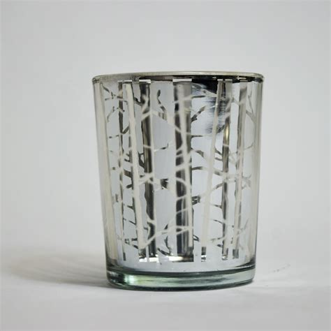 birch forest votive tea light glass candle holder silver