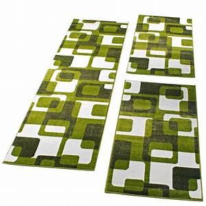 Teppich Läufer Grün : bettumrandung l ufer teppich retro design gr n graul uferset 3 tlg wohn und schlafbereich ~ Whattoseeinmadrid.com Haus und Dekorationen