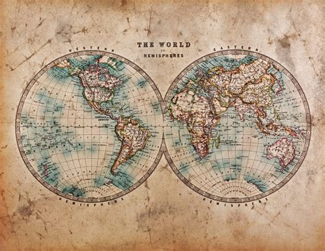 1800 Vintage World Map Wallpaper Wall Mural By Loveabodecom