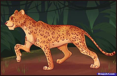 draw cartoon leopard step  step cartoon animals