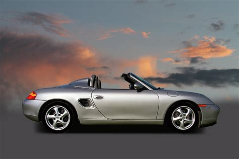 convertible porsche red 1988 porsche boxter convertible with red sky photograph by