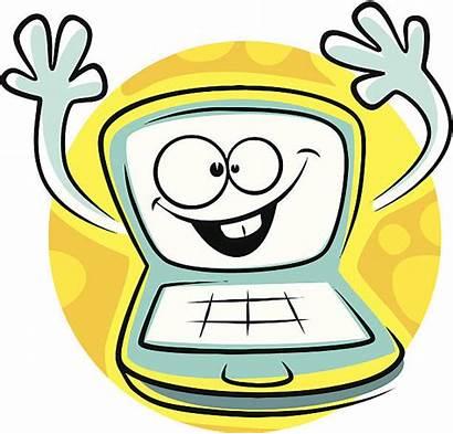 Computer Cartoon Monitor Vector Cpu Clip Illustrations