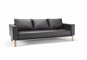 cassius sofa bed in black leatherette w oak legs by innovation With cassius sofa bed