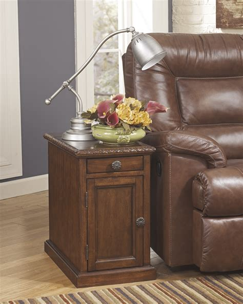 caden power chair side end table contemporary brown