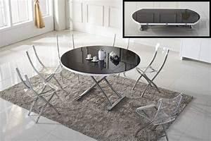 Table Basse Noire Ronde : table basse ronde relevable et extensible planet noire ~ Teatrodelosmanantiales.com Idées de Décoration