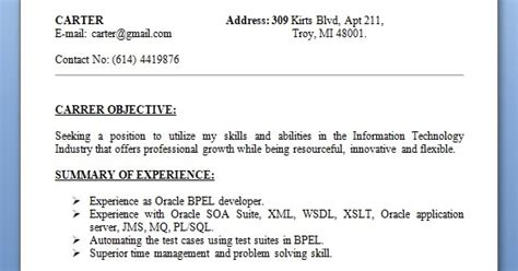 troy university resume template oracle bpel developer sle resume format in word free