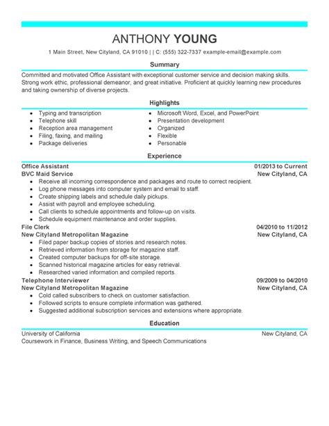 Exles Of Office Assistant Resumes by Free Resume Exles By Industry Title Livecareer