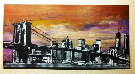 new york state of mind spray paint on wood panel by me