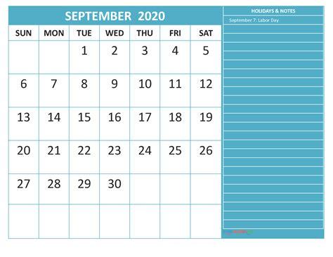 Free Printable September 2020 Calendar with Holidays ...