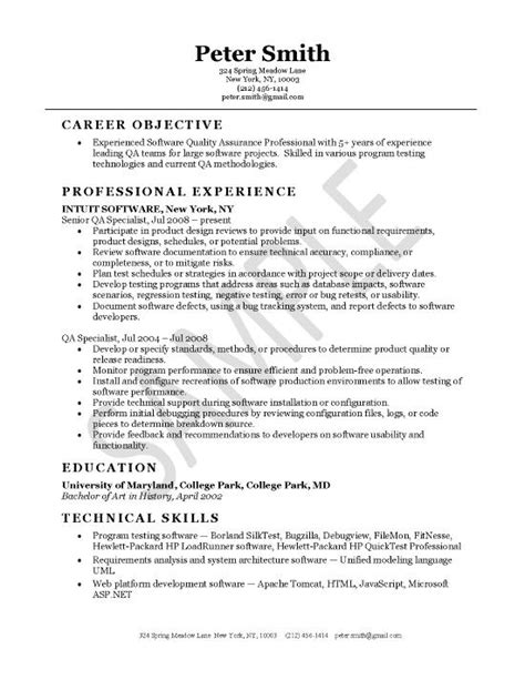 Cv Format For Quality by Quality Assurance Resume Exle Resume Exles And Resume