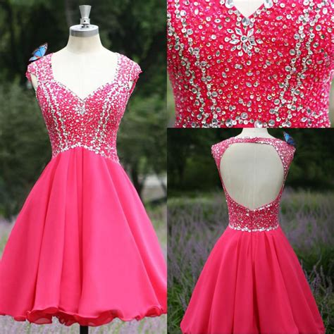New Arrival Hot Pink Cap Sleeves Backless Homecoming ...