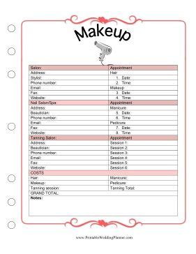 wedding planner makeup template covers appointment