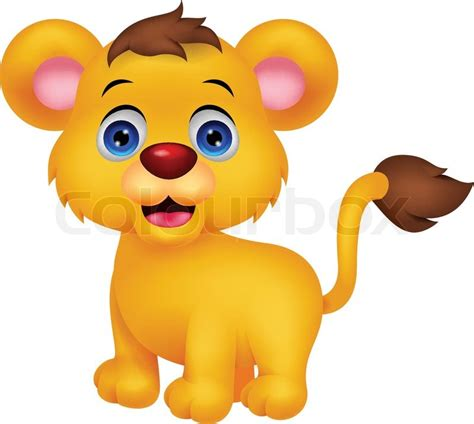 vector illustration  cute baby lion stock vector