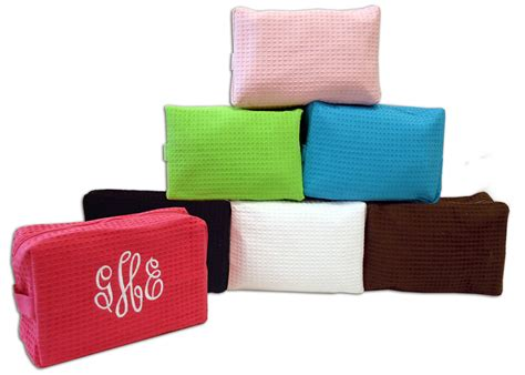 waffle weave cosmetic bag  embroidery monogram