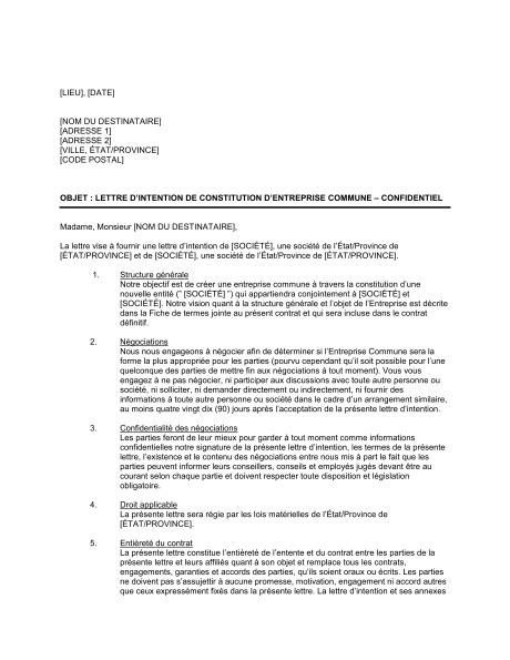 modèle lettre d intention modele lettre intention document