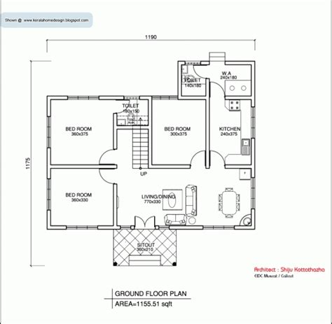 3 bedroom ranch house floor plans amazing kerala style single floor house plan 1155 sq ft