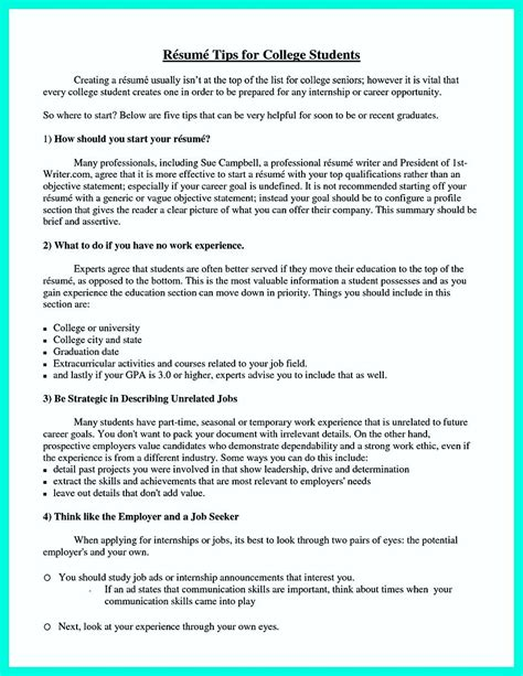 Things You Can Put On Your Resume by Cool Best College Student Resume Exle To Get