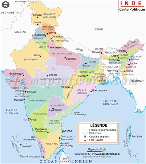 Carte Politique Du Monde Indien by Carte Inde Inde Carte