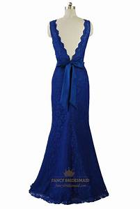 Royal Blue Deep V-Neckline Sleeveless Mermaid Floor Length ...