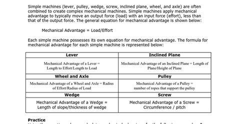 Simple Machines Mechanical Advantage Worksheet Letravideoclip