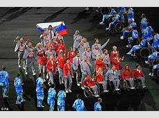 Belarus team carry Russian flag during Paralympics opening