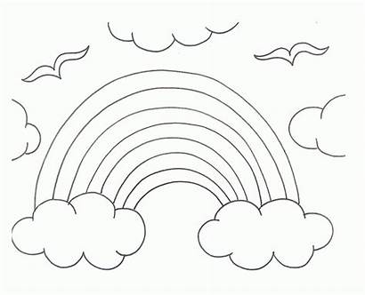 Rainbow Coloring Pages Clouds Clipart Rainy Sun
