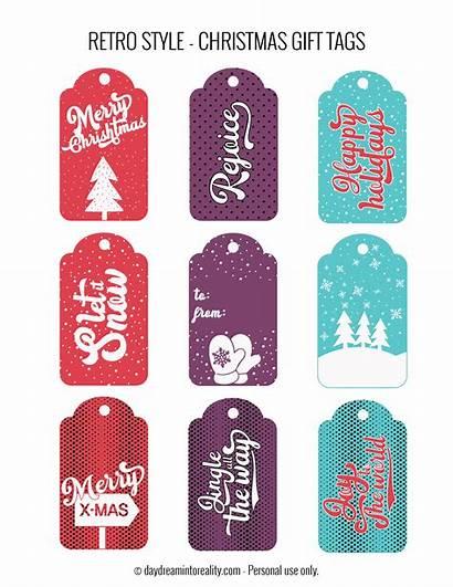 Gift Christmas Tags Retro Printable Pdf Funny