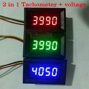 Led 2 In 1 Tachometer Gauge Digital Rpm Meter Voltmeter