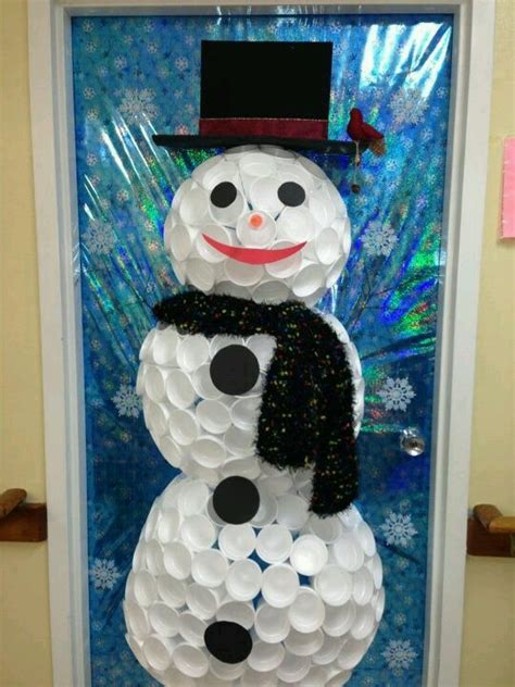 foam cup snowman   door    tree