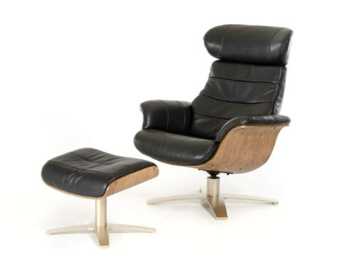 modern black leather reclining chair with ottoman new