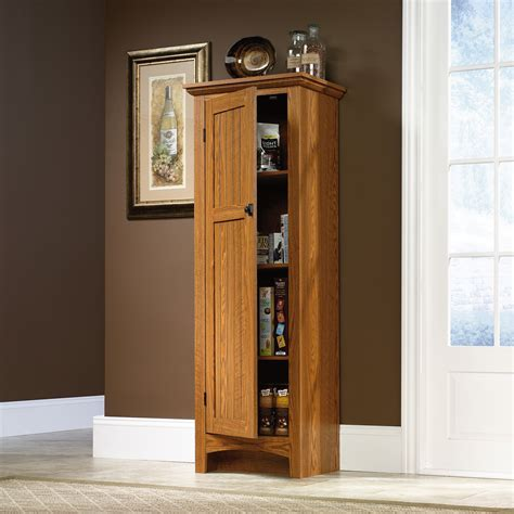 Tall Wood Freestanding Kitchen Pantry Storage Cabinet With