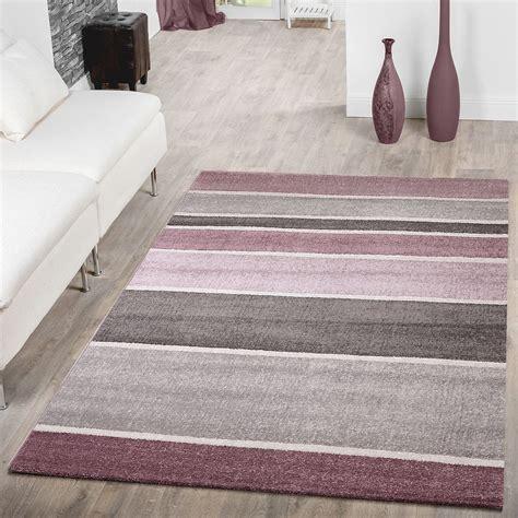 designer teppich gestreift kurzflor modern lila grau flieder konturenschnitt sale sales
